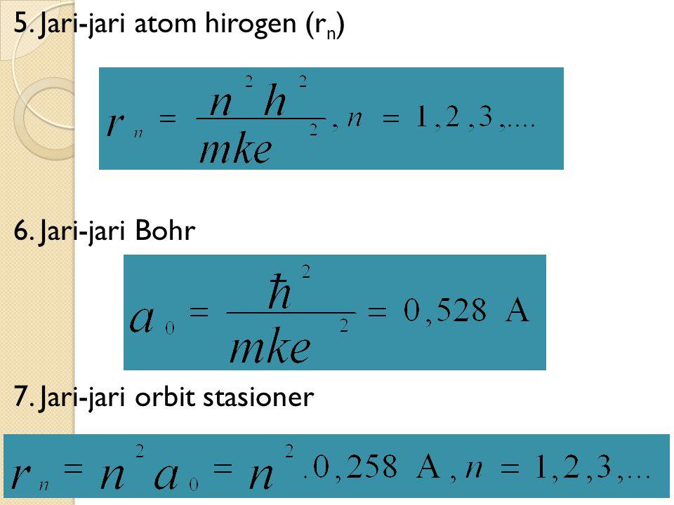 5. Jari-jari atom hirogen (rn) 6. Jari-jari Bohr 7