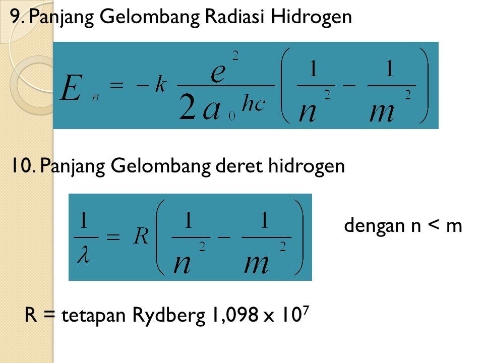 9. Panjang Gelombang Radiasi Hidrogen 10