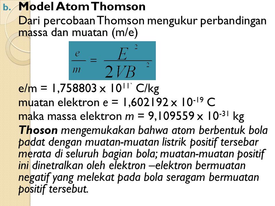 Dari percobaan Thomson mengukur perbandingan massa dan muatan (m/e)
