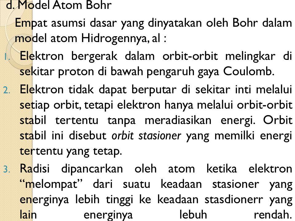 d. Model Atom Bohr Empat asumsi dasar yang dinyatakan oleh Bohr dalam model atom Hidrogennya, al :