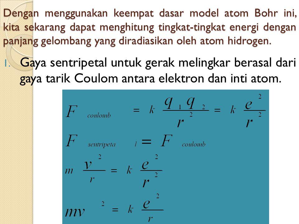 Dengan menggunakan keempat dasar model atom Bohr ini, kita sekarang dapat menghitung tingkat-tingkat energi dengan panjang gelombang yang diradiasikan oleh atom hidrogen.