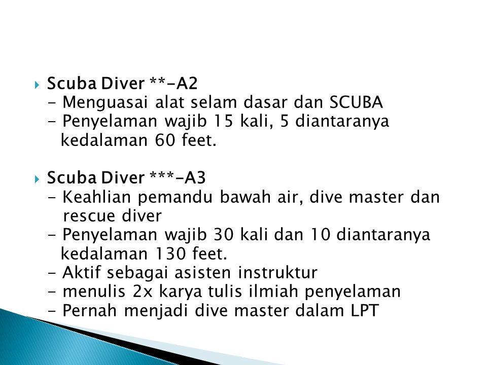 Scuba Diver **-A2 - Menguasai alat selam dasar dan SCUBA. - Penyelaman wajib 15 kali, 5 diantaranya.