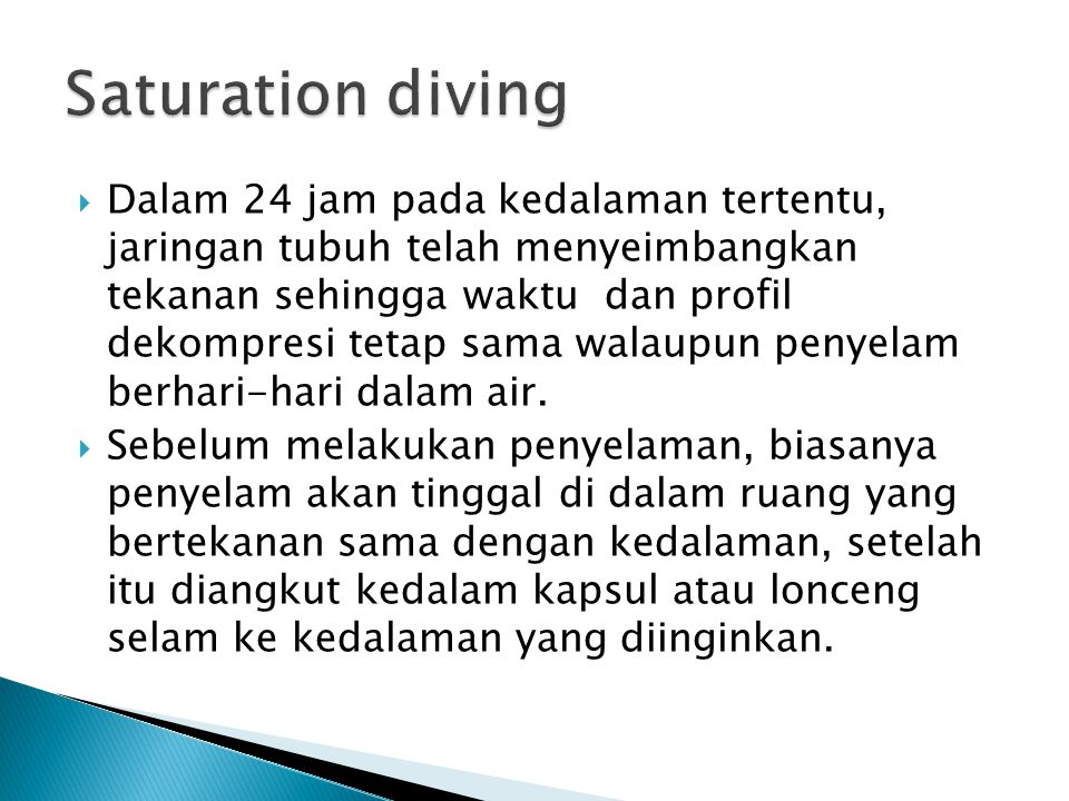 Saturation diving