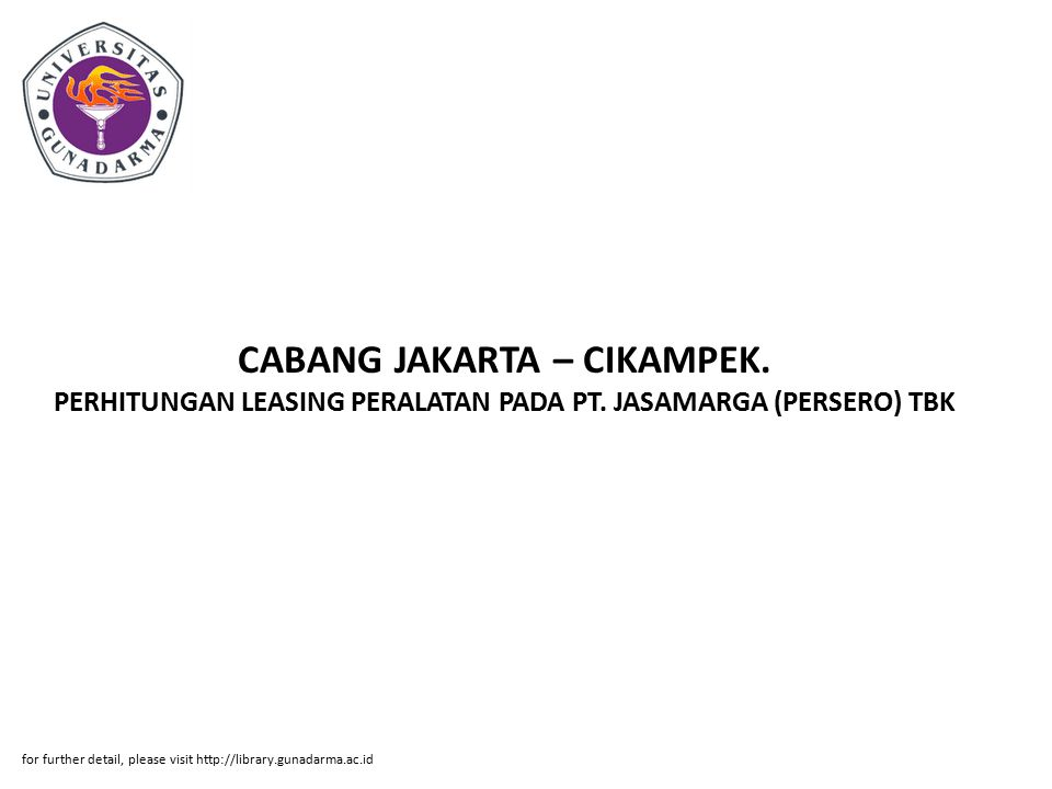 CABANG JAKARTA – CIKAMPEK. PERHITUNGAN LEASING PERALATAN PADA PT