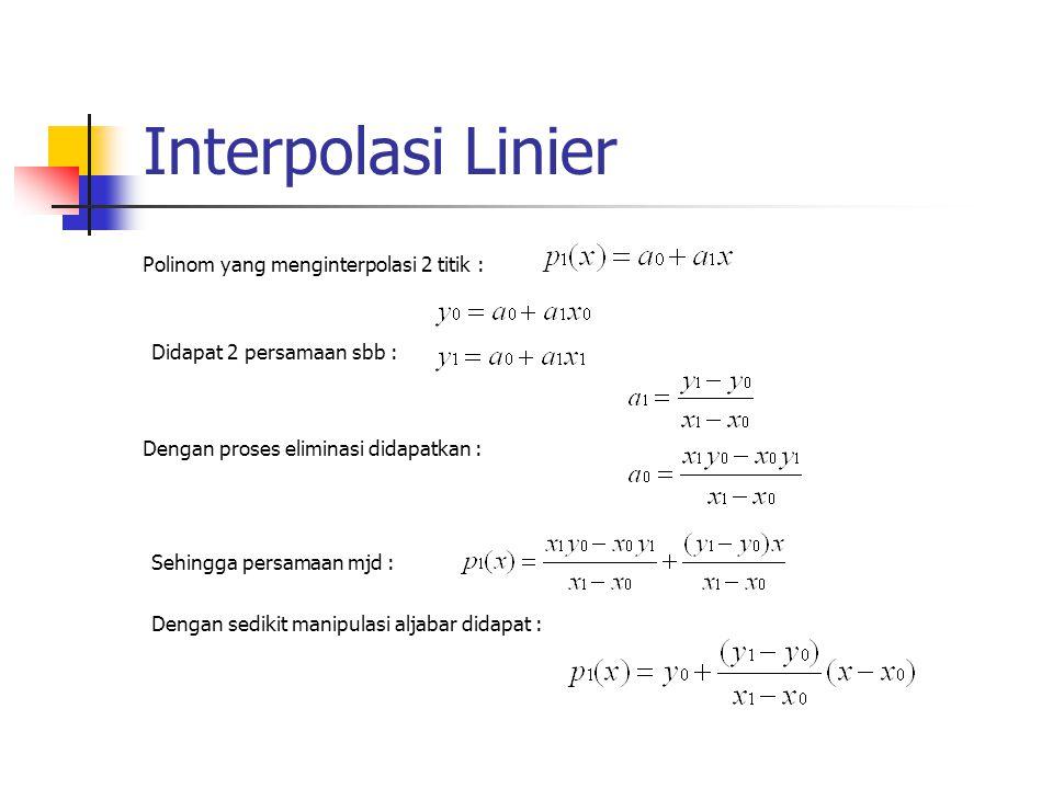 Interpolasi Linier Polinom yang menginterpolasi 2 titik :