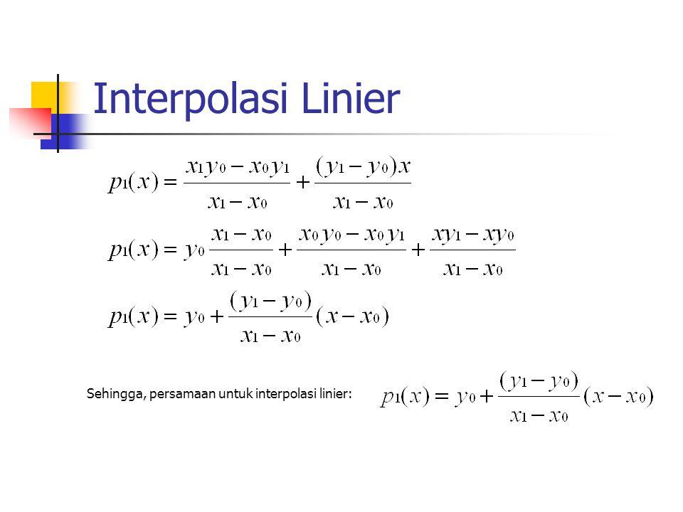 Interpolasi Linier Sehingga, persamaan untuk interpolasi linier: