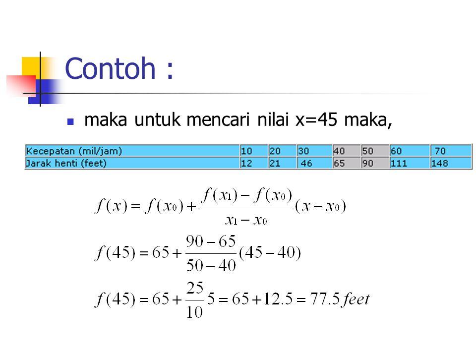 Contoh : maka untuk mencari nilai x=45 maka,