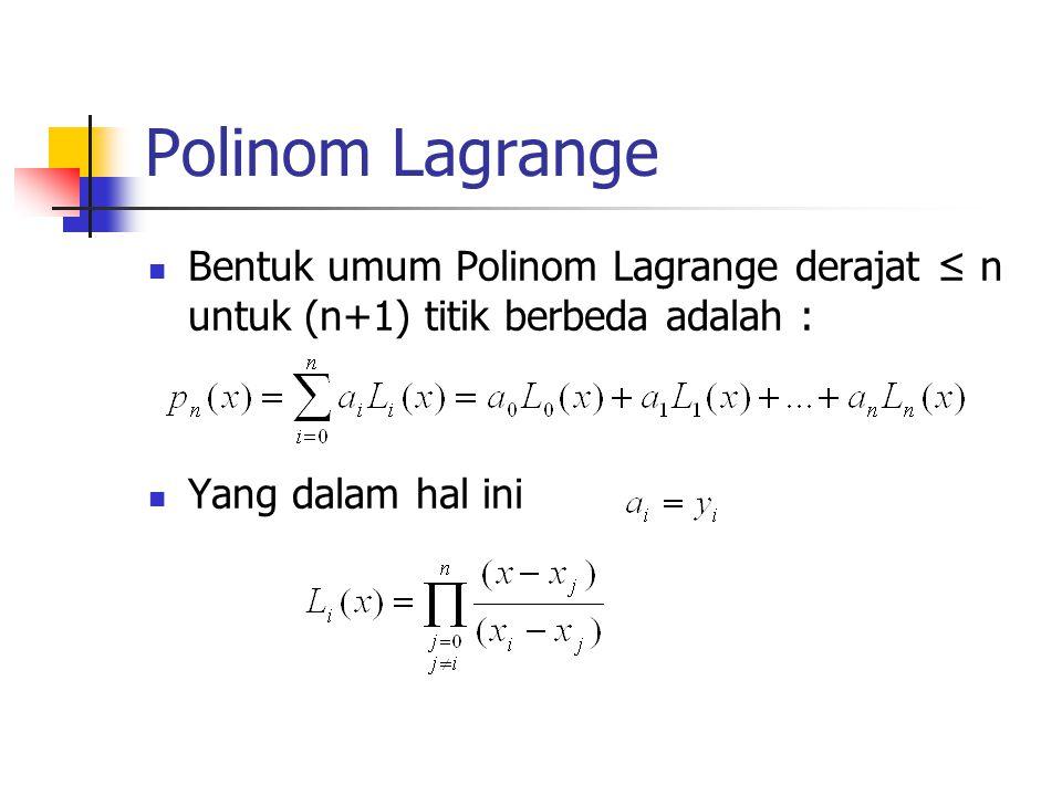 Polinom Lagrange Bentuk umum Polinom Lagrange derajat ≤ n untuk (n+1) titik berbeda adalah : Yang dalam hal ini.
