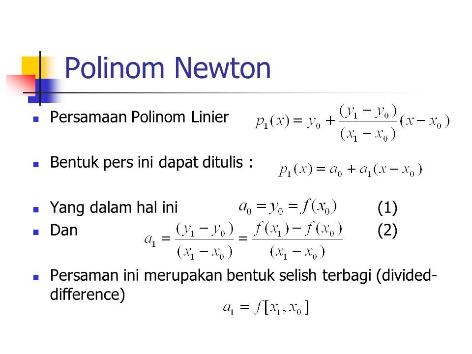 Polinom Newton Persamaan Polinom Linier