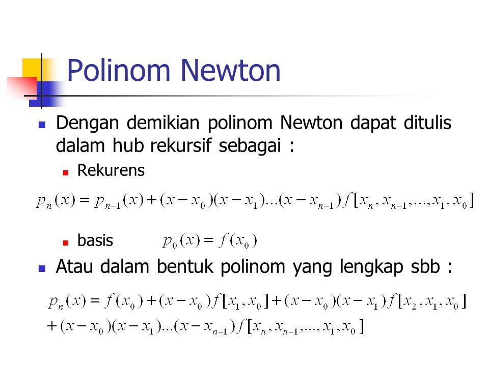Polinom Newton Dengan demikian polinom Newton dapat ditulis dalam hub rekursif sebagai : Rekurens.