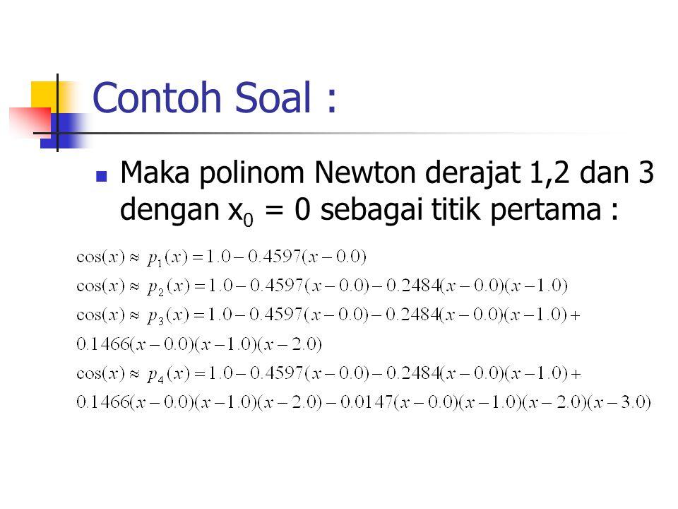 Contoh Soal : Maka polinom Newton derajat 1,2 dan 3 dengan x0 = 0 sebagai titik pertama :