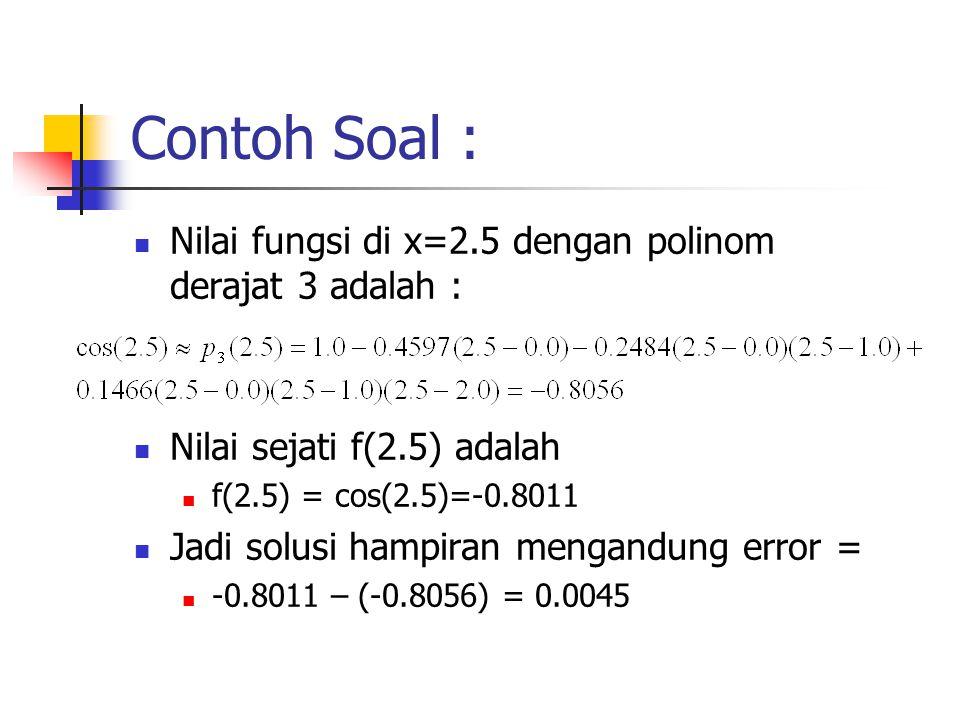Contoh Soal : Nilai fungsi di x=2.5 dengan polinom derajat 3 adalah :