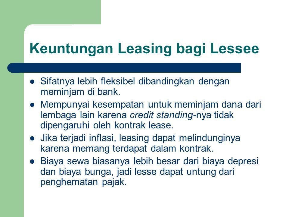 Keuntungan Leasing bagi Lessee