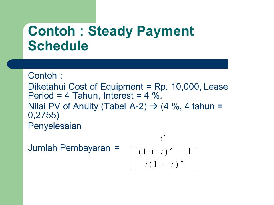 Contoh : Steady Payment Schedule
