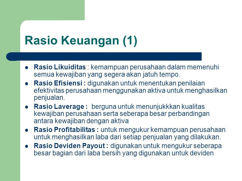 Rasio Keuangan (1) Rasio Likuiditas : kemampuan perusahaan dalam memenuhi semua kewajiban yang segera akan jatuh tempo.