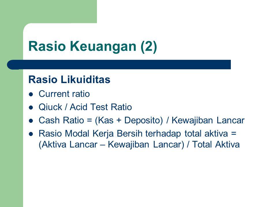 Rasio Keuangan (2) Rasio Likuiditas Current ratio