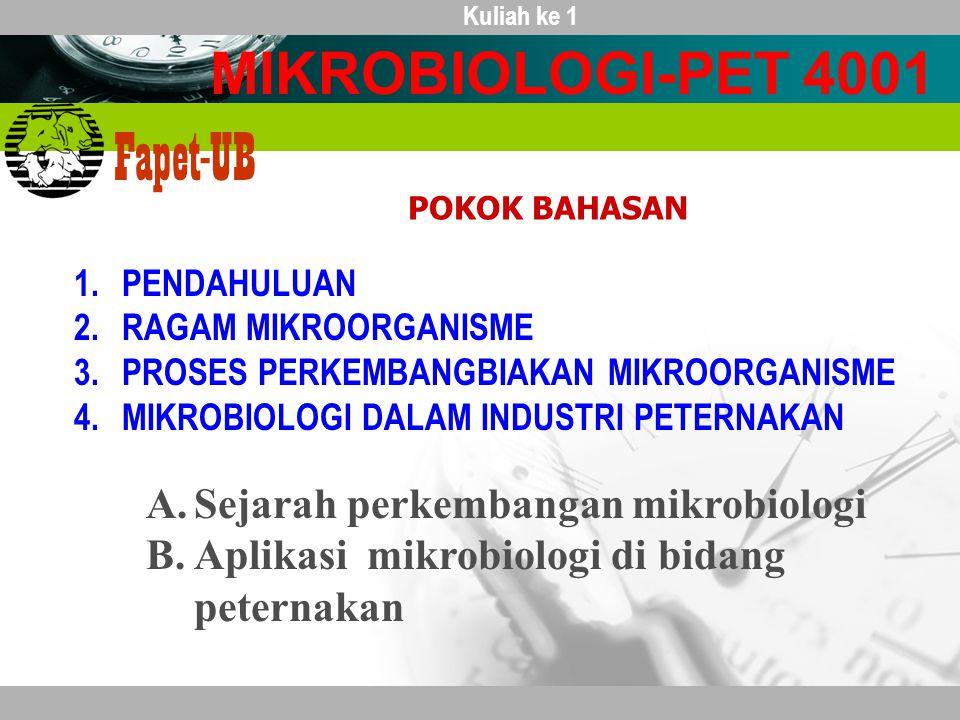 MIKROBIOLOGI-PET 4001 Sejarah perkembangan mikrobiologi