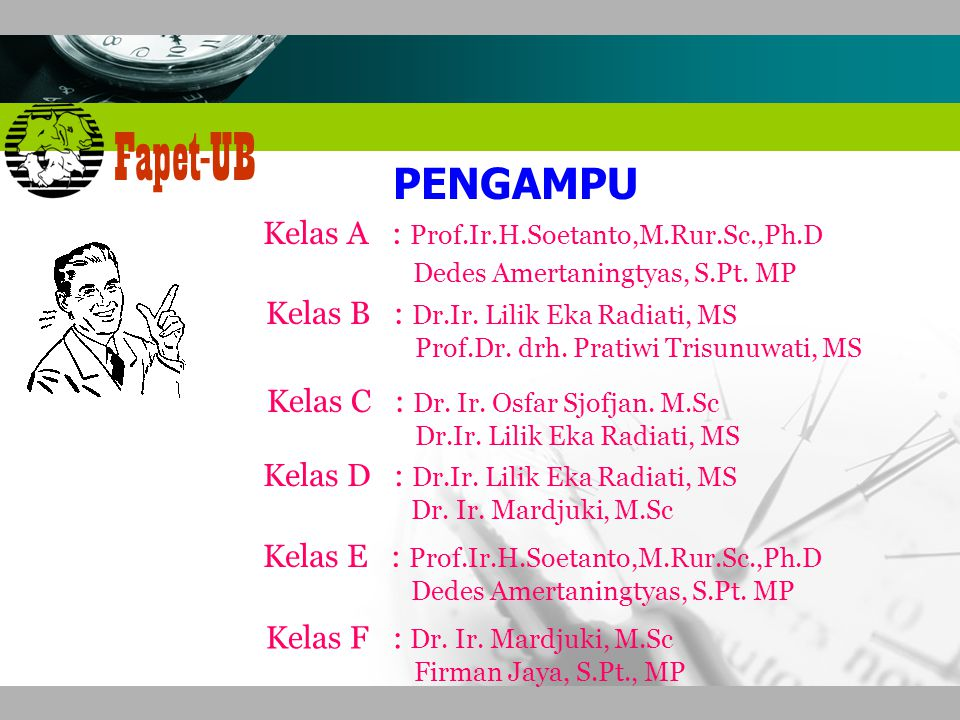 PENGAMPU Kelas A : Prof.Ir.H.Soetanto,M.Rur.Sc.,Ph.D