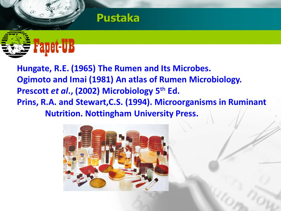 Pustaka Hungate, R.E. (1965) The Rumen and Its Microbes.