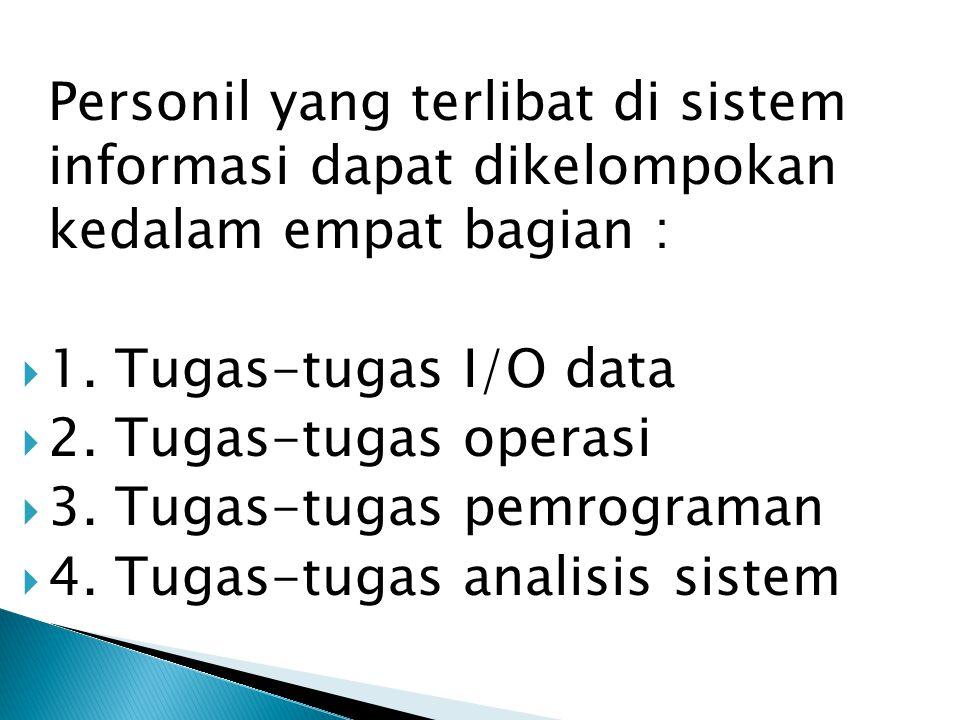 Personil yang terlibat di sistem informasi dapat dikelompokan kedalam empat bagian :