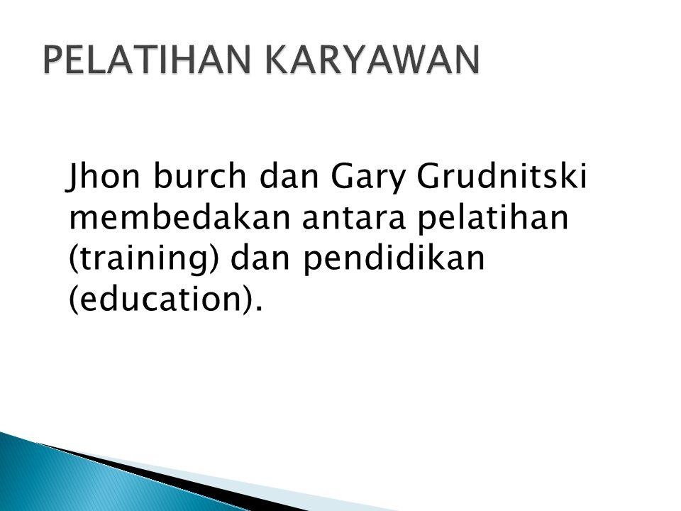 PELATIHAN KARYAWAN Jhon burch dan Gary Grudnitski membedakan antara pelatihan (training) dan pendidikan (education).