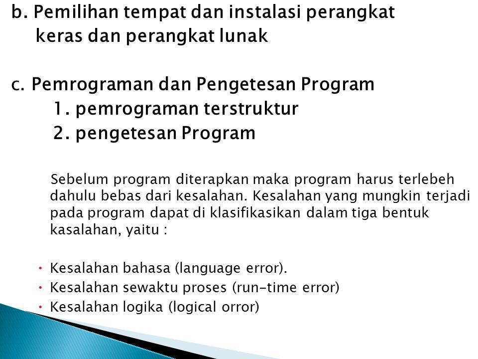 b. Pemilihan tempat dan instalasi perangkat keras dan perangkat lunak
