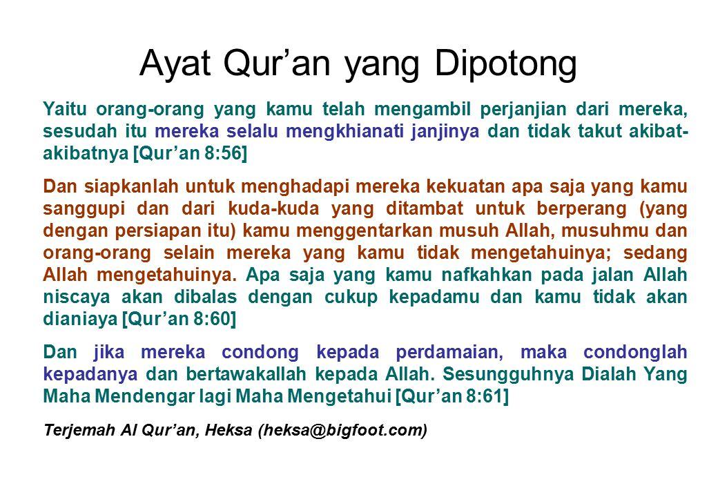 Ayat Qur'an yang Dipotong