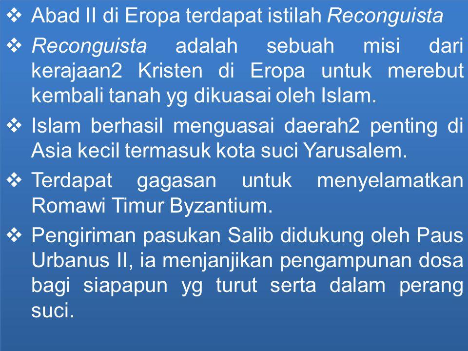 Abad II di Eropa terdapat istilah Reconguista