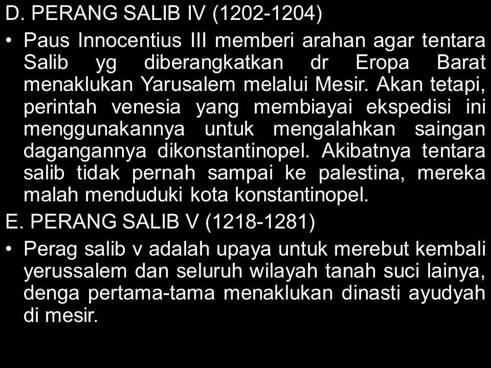 D. PERANG SALIB IV (1202-1204)