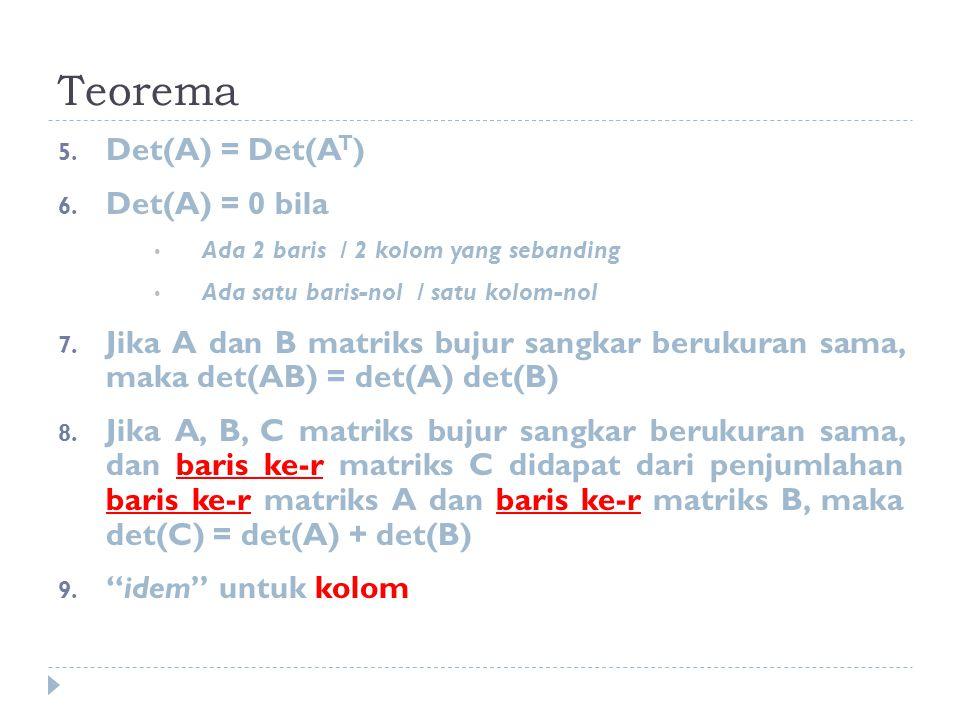Teorema Det(A) = Det(AT) Det(A) = 0 bila