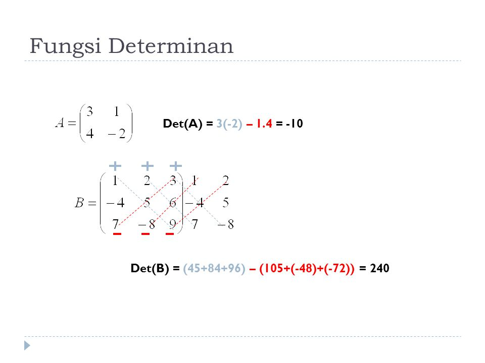 Fungsi Determinan Det(A) = 3(-2) – 1.4 = -10