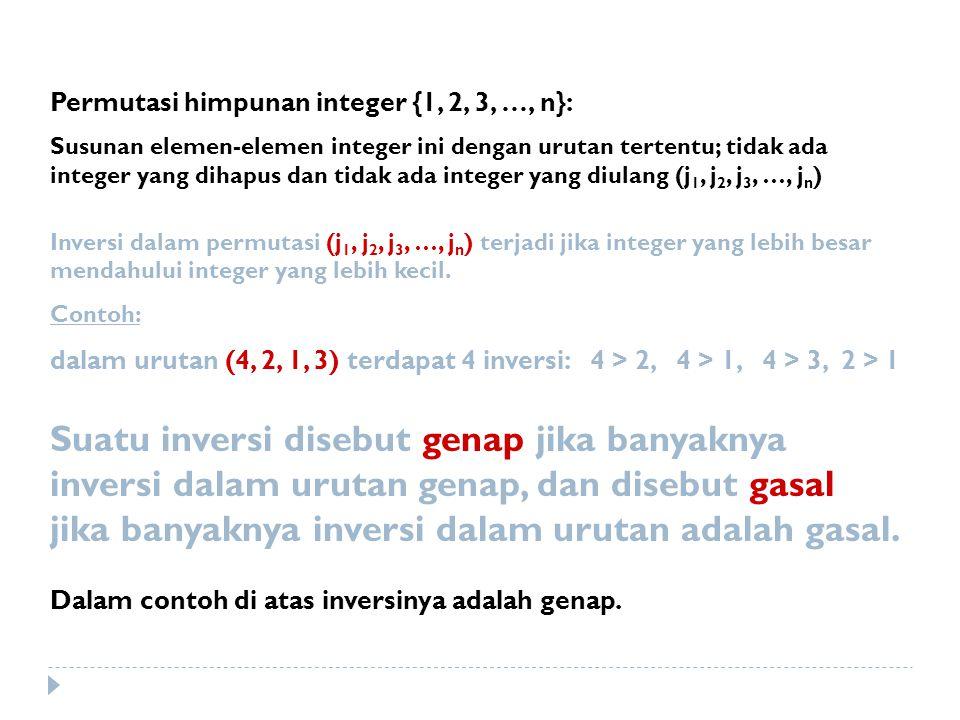 Permutasi himpunan integer {1, 2, 3, …, n}: