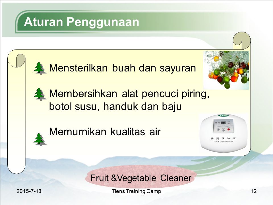 Aturan Penggunaan Mensterilkan buah dan sayuran