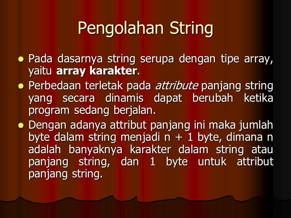 Pengolahan String Pada dasarnya string serupa dengan tipe array, yaitu array karakter.