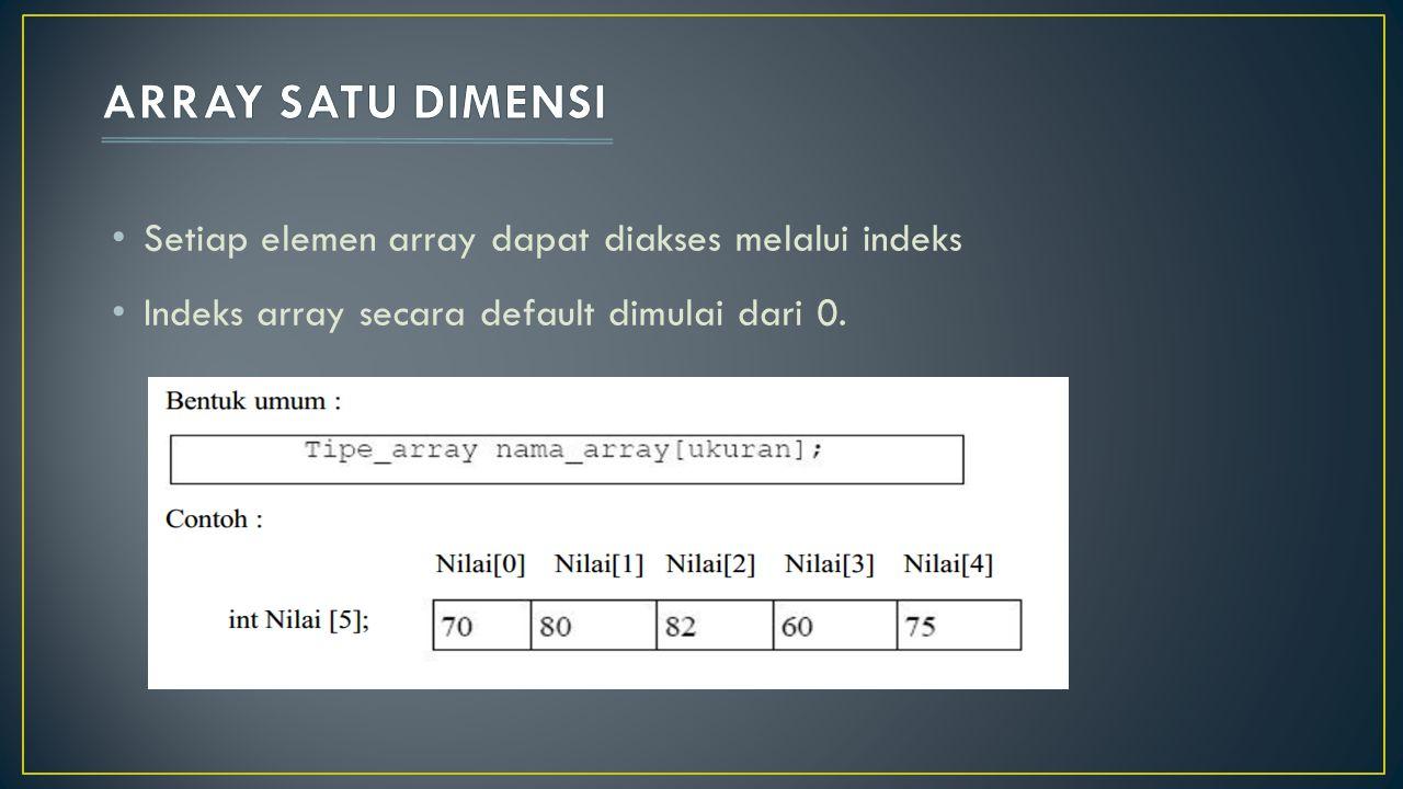 ARRAY SATU DIMENSI Setiap elemen array dapat diakses melalui indeks
