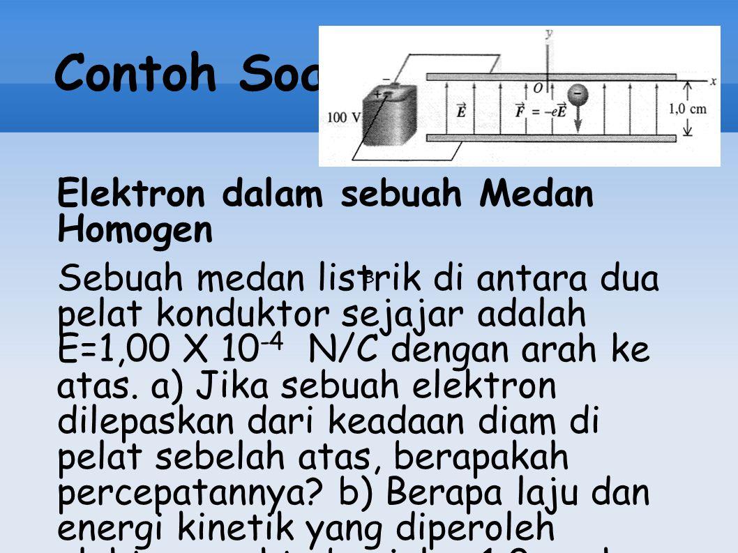 Contoh Soal Elektron dalam sebuah Medan Homogen