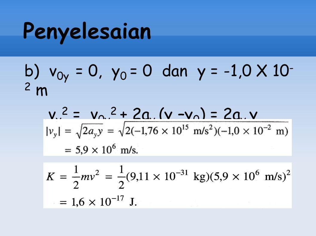 Penyelesaian b) v0y = 0, y0 = 0 dan y = -1,0 X 10-2 m