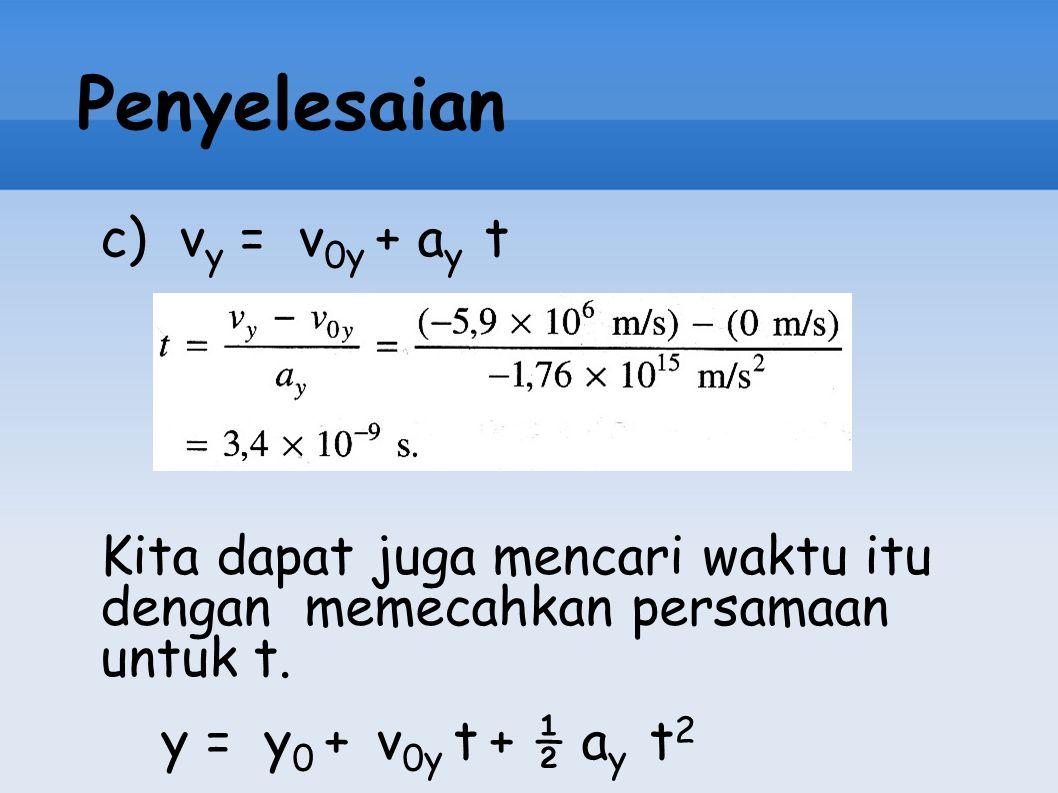 Penyelesaian c) vy = v0y + ay t