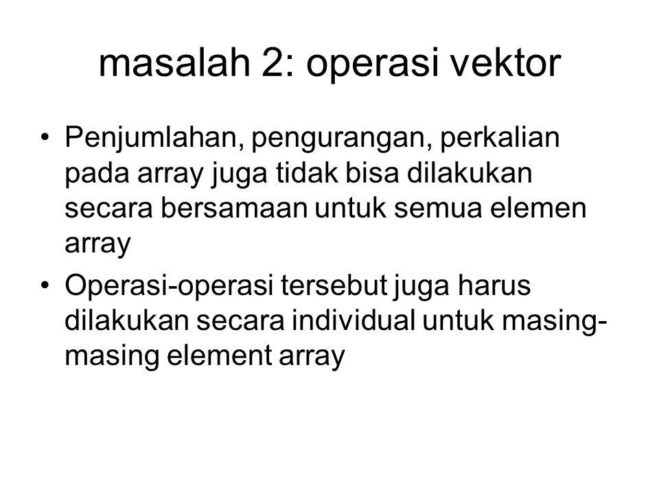 masalah 2: operasi vektor