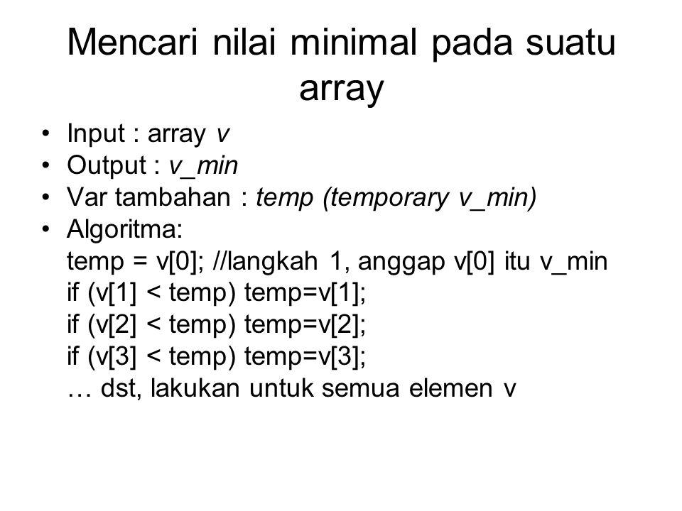 Mencari nilai minimal pada suatu array