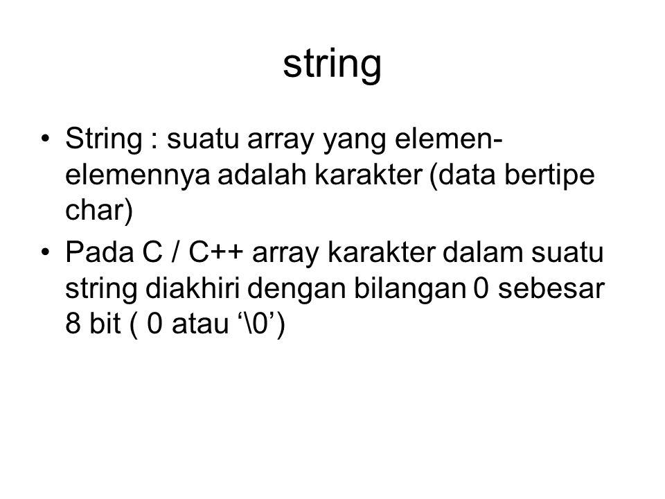 string String : suatu array yang elemen-elemennya adalah karakter (data bertipe char)