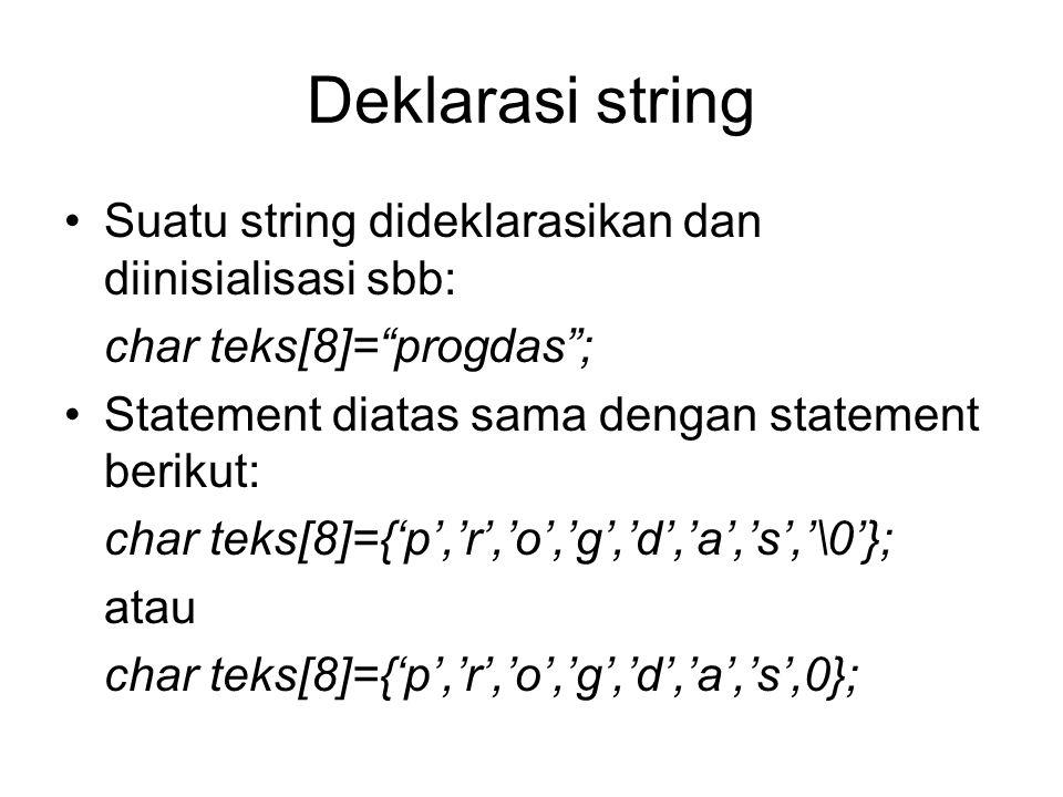 Deklarasi string Suatu string dideklarasikan dan diinisialisasi sbb: