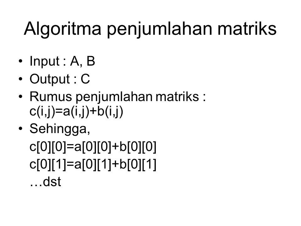 Algoritma penjumlahan matriks