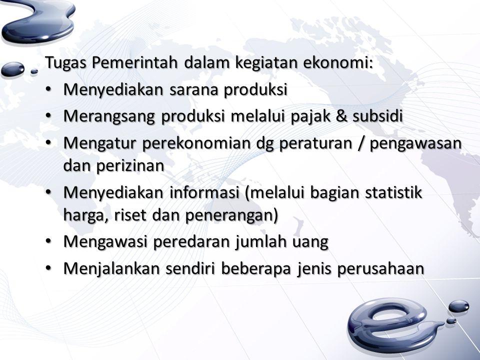 Tugas Pemerintah dalam kegiatan ekonomi: