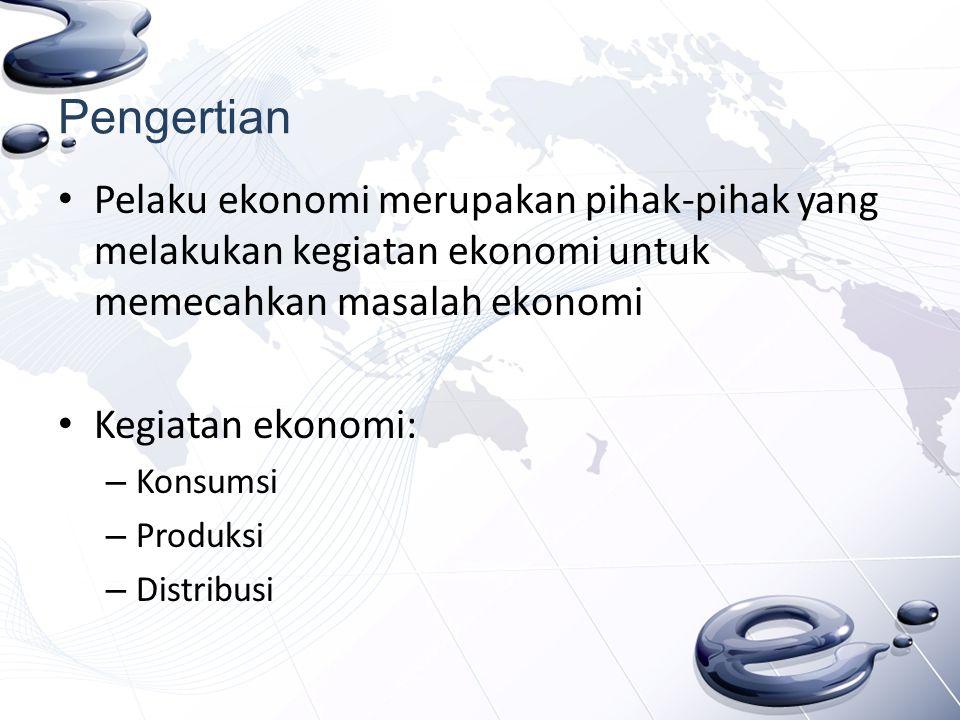 Pengertian Pelaku ekonomi merupakan pihak-pihak yang melakukan kegiatan ekonomi untuk memecahkan masalah ekonomi.
