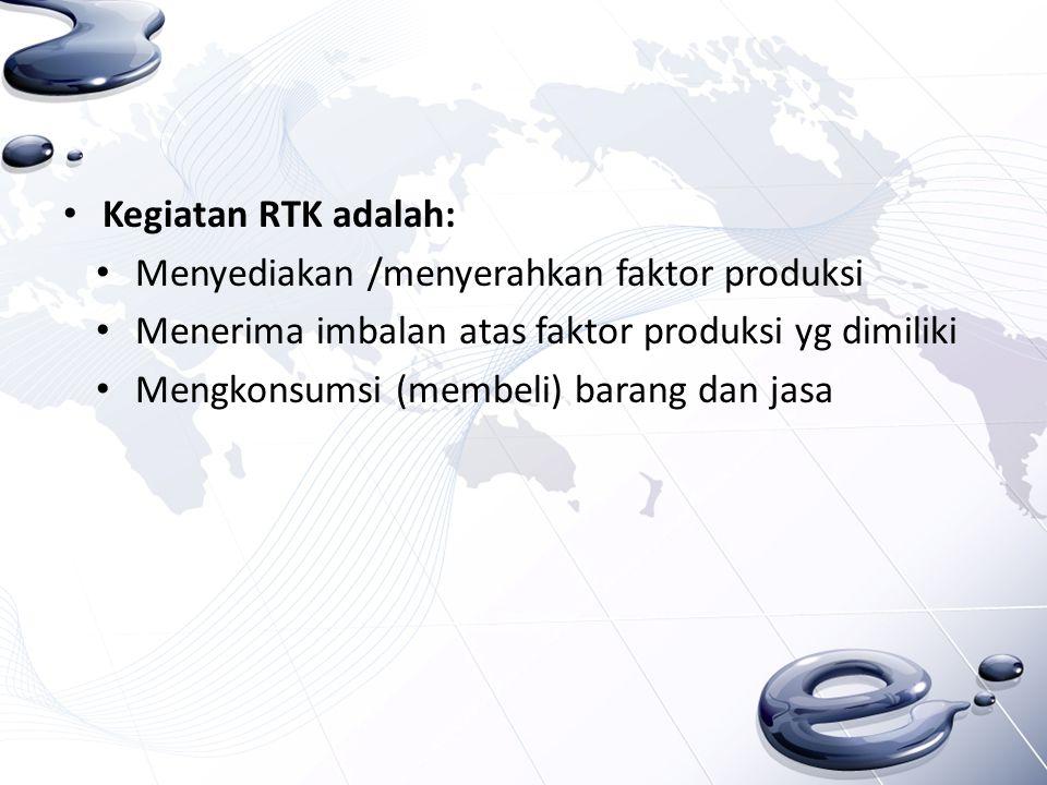 Kegiatan RTK adalah: Menyediakan /menyerahkan faktor produksi. Menerima imbalan atas faktor produksi yg dimiliki.