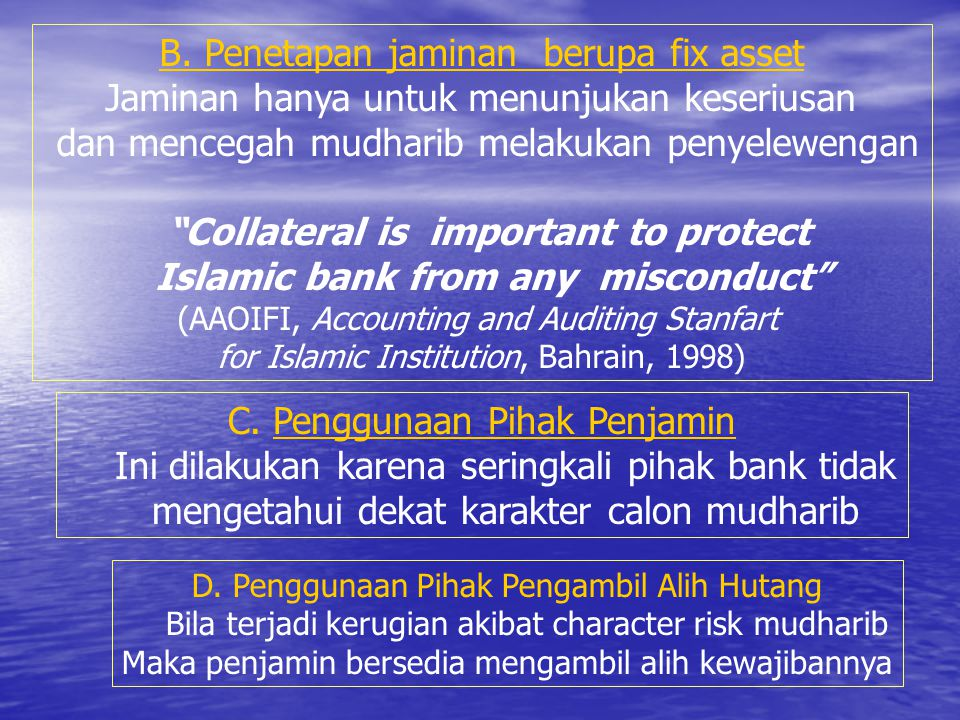 Islamic bank from any misconduct