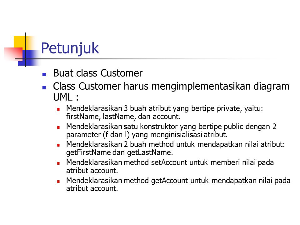 Petunjuk Buat class Customer
