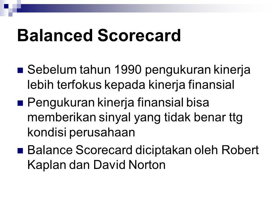 Balanced Scorecard Sebelum tahun 1990 pengukuran kinerja lebih terfokus kepada kinerja finansial.