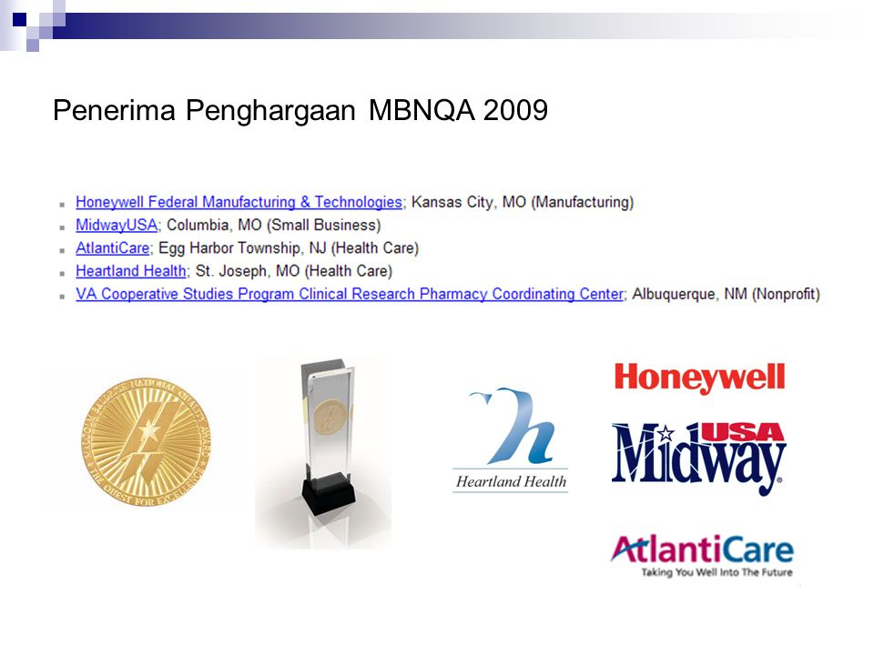 Penerima Penghargaan MBNQA 2009